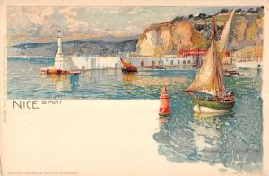 Le Port Harbor in Nice France  Antique Postcard L535