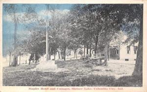 Columbia City Indiana~Shriner Lake~Staples Hotel & Cottages~Flag Pole~1920s PC