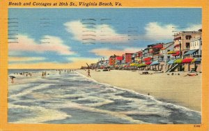 VIRGINIA BEACH VA~BEACH & COTTAGES AT 20th. STREET~1952 PSTMK POSTCARD