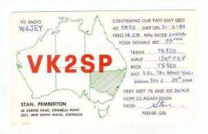 Map of Australia, HAM radio card, Connells popint NSW 50s