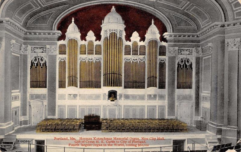 Portland ME~4th Largest Pipe Organ in the World~Kotzschmar~New City Hall c1910