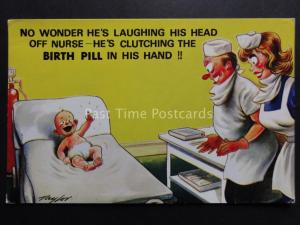 Taylor: Bamforth & Co New Baby Theme HE'S LAUGHING HE'S CLUTCHING THE BIRTH PILL