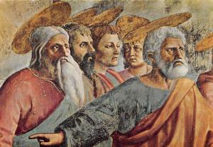 Italy Firenze Basilica del Carmine Masaccio Tribute Money St. Peter and apostles