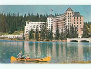 Vintage Post Card Chateau Lake Louise Canadian Rockies Canoes Canada  # 3831
