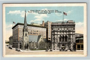 Indianapolis IN-Indiana, Christ Church And Columbia Club, Vintage Postcard