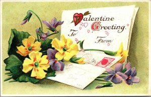 Vintage EMBOSSED ST. VALENTINE'S GREETING Postcard YELLOW Flower HEART