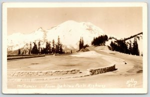 Washington~Mt Rainier @ Yakima Park Highway~History Lesson Back~1936 RPPC
