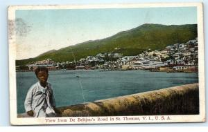*1924 View from De Beltjen's Road St. Thomas Virgin Islands USA Postcard A26