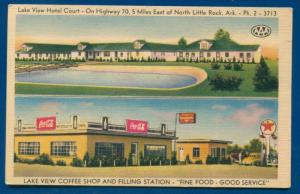 Lake View Hotel Court Hwy 70 Texaco Gas Station Little Rock Arkansas postcard