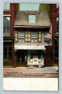 Philadelphia PA-Pennsylvania Flag House Vintage c1910 Postcard