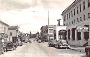 Ironwood MI Aurora Street Store Fronts Curry Hotel Real Photo RPPC Postcard
