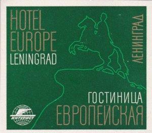 Russia Leningrad Hotel Europe Vintage Luggage Label sk1485