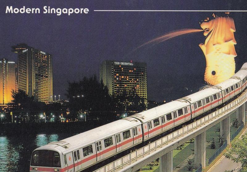 Singapore MRT Train 1980s Transportation Postcard