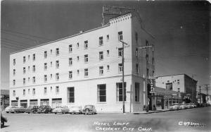 1950s Hotel Lauff CRESCENT CITY CALIFORNIA Laws RPPC Real Photo Postcard 1607