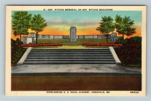 Annapolis MD-Maryland, Governor Ritchie Memorial, Linen Postcard