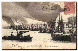 Postcard Old Bordeaux Quay Burgundy