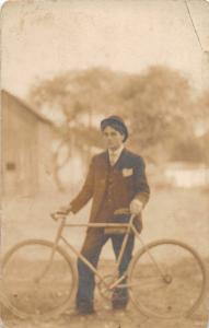F37/ Interesting Real Photo RPPC Postcard Man with Bicycle Bike c1910   2