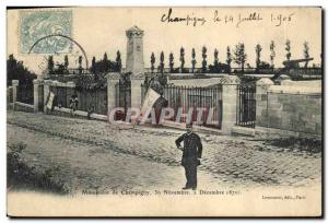 Postcard Old Army War of 1870 monument of Champigny