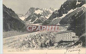 Old Postcard Chamonix La Mer de Glace and the Montanvert Hotel (altitude 1821 m)