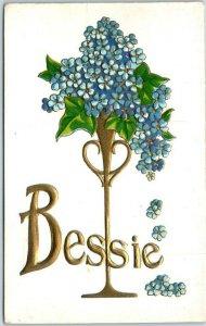 1910s Large Letter RPPC Greetings Embossed Postcard BESSIE Blue Flowers UNUSED