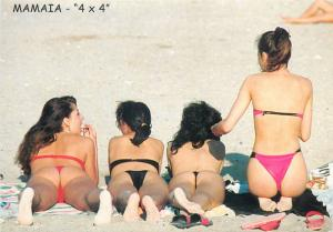 Romania bikini beauties sunbathing Mamaia beach postcard
