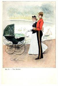 London , The Soldier walking with wife and Stroller