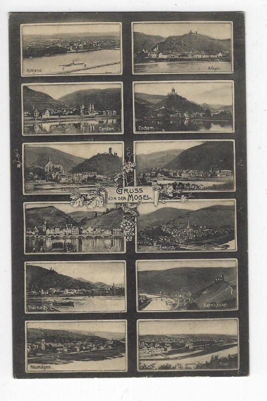 MOSEL GERMANY 12-MULTIVEW USED POSTCARD B&W EARLY VINTAGE 1937 ?