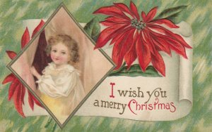 CHRISTMAS , 1900-10s ; Child & Poinsettia Flower