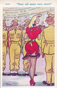 Beauty Queen At Soldiers Military Parade Erect Old Comic Postcard