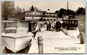 Madeline WI~Passengers Cram into Excursion Boat~Dock, Mission Inn  RPPC 1948