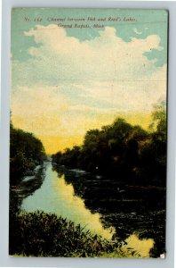 Grand Rapids MI-Michigan, Channel Between Fisk & Reeds Lakes, Vintage Postcard