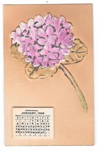 1908 Calendar Add-On Glitter Bouquet Vintage Postcard