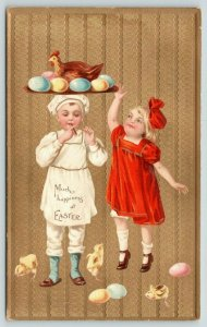 Easter~Boy Chef Lights Cigar~Hen & Egg Platter on Head~Girl~Gold Texture Back