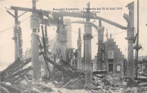 Belgium Bruxelles Exposition, L'Incendie 1910 Bruxelles Kermesse Fire Ruins