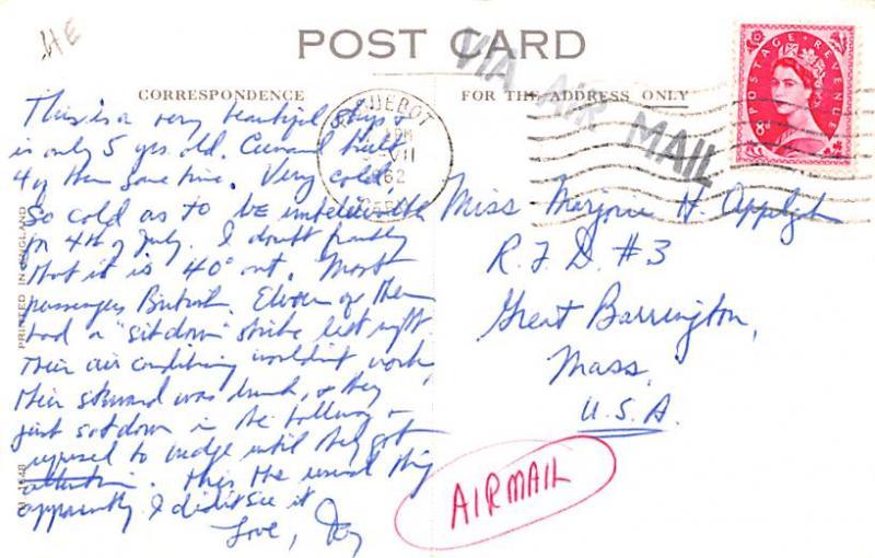 White Star Line Cunard Ship Post Card, Old Vintage Antique Postcard RMS Sylva...
