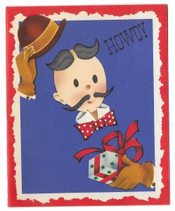 VINTAGE 1940s WWII ERA Christmas & New Year Greeting Card Art Deco Man HOWDY