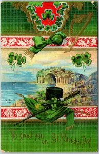 1910s ST. PATRICK'S DAY Greetings Postcard To Greet You FINGAL'S CAVE View