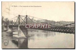 Old Postcard Suspension Bridge Tours Saint Symphorien