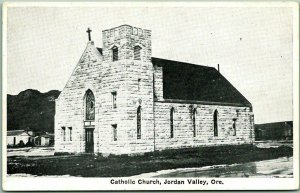 Vintage JORDAN VALLEY, Oregon Postcard Catholic Church Building View Unused
