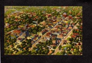 VT Aerial View Burlington Vermont City Postcard Linen PC