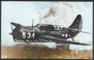 Curtiss SB2C Helldiver Dive Bomber Navy WWII Fighter Aircraft Military Postcard