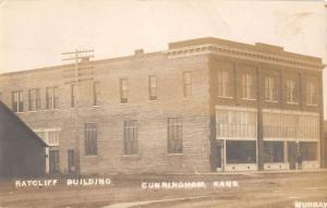 Cunningham Kansas Ratcliff Bldg Real Photo Antique Postcard K29656