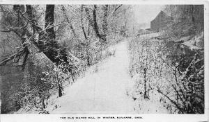 F21/ Navarre Ohio Postcard c1910 Old Water Mill Winter Snow