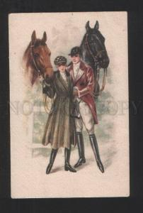 077216 Lovers Riders w/ Two HORSES vintage Colorful PC