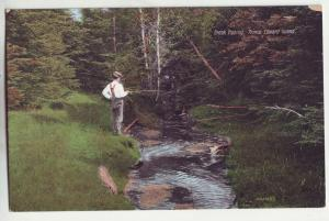 P845 old souvenir card brook fishing P.E.I. canada