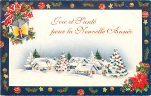 Christmas, French, Snow Scene, Candle in Light