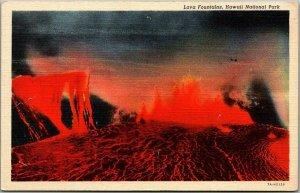 1944 Hawaii Volcanoes National Park Postcard Lava Fountains Curteich Linen