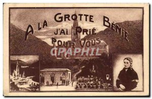 Old Postcard A Cave Benie Jai Pray you Bernadette Soubirous