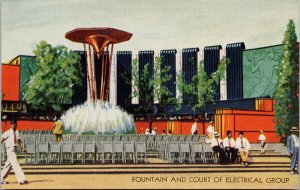 Fountain and Court of Electrical Group Chicago Exposition 1933 IL Postcard F31