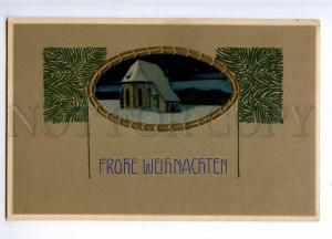 189926 X-MAS Landscape ART NOUVEAU Christmas Vintage EMBOSSED